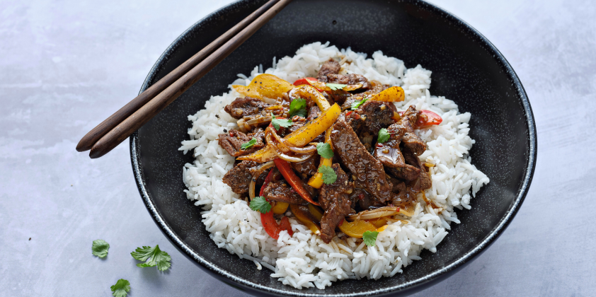 Lamb Stir-fry with Peppers and Rice